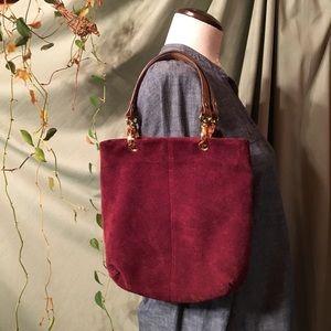 JACLYN SMITH ✨ Suede Maroon Wine Handbag